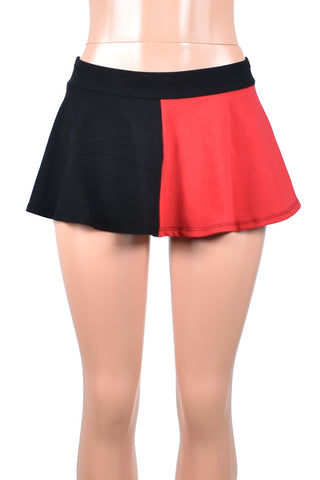 Black and Red Cotton Flared Skirt (Four Length Options)