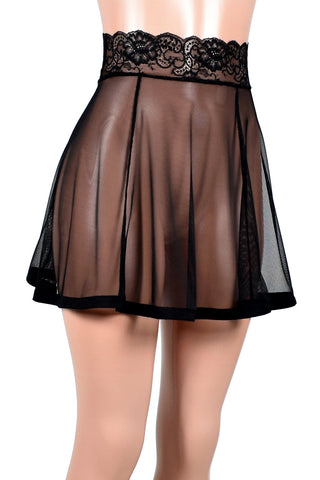 "Black Mesh Skirt (17"" Length)"