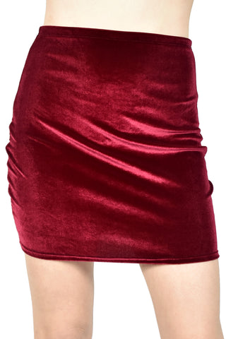 High-Waisted Burgundy Velvet Mini Skirt