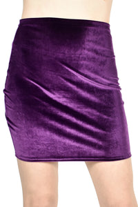 High-Waisted Purple Velvet Mini Skirt