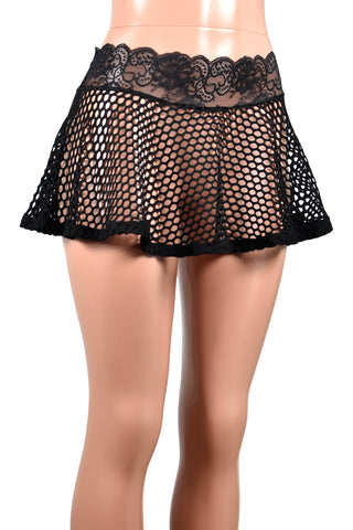 Black Wide Net Fishnet Mini Skirt (Two Length Options)