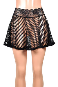 "Black Wide Net Fishnet Mini Skirt (14"" Length)"