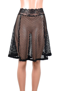 "Black Wide Net Fishnet Mini Skirt (21"" Length)"