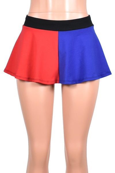 Red and Blue Cotton Flared Skirt (Four Length Options)