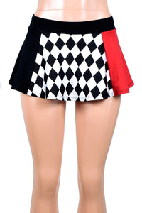 Black, White, and Red Diamond Print Skirt (Four Length Options)