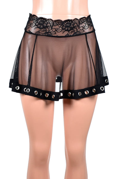 Two Skirt Deal: Black Wide Net Fishnet Skirt and Mesh Grommet Hem Skirt
