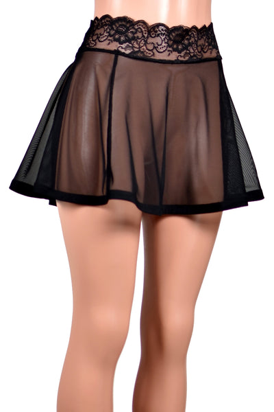 "Black Mesh Skirt (14"" Length)"