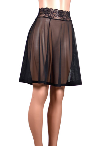 "Black Mesh Skirt (21"" Length)"