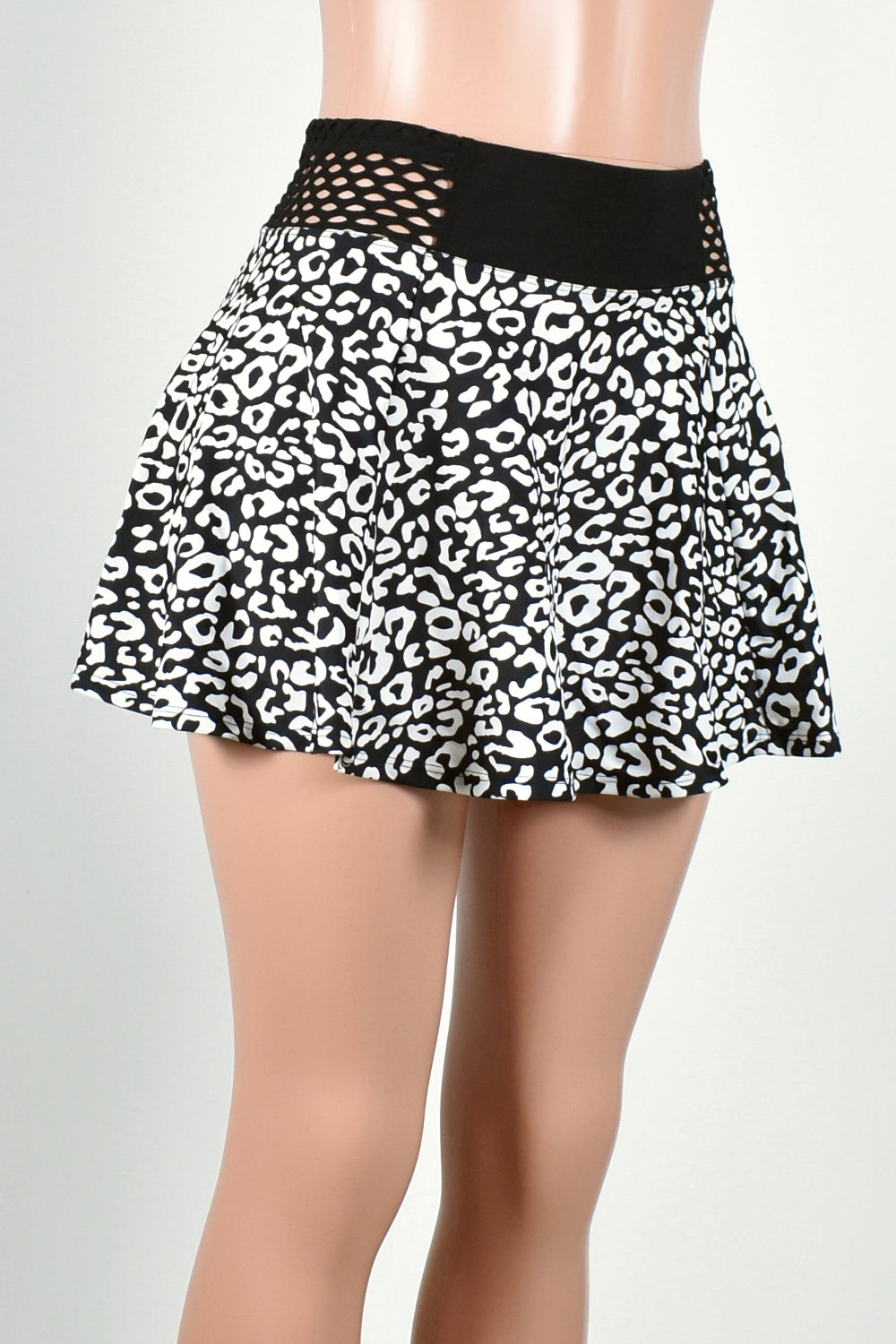 Black and White Leopard Skirt with Fishnet Waistband (Two Length Options)