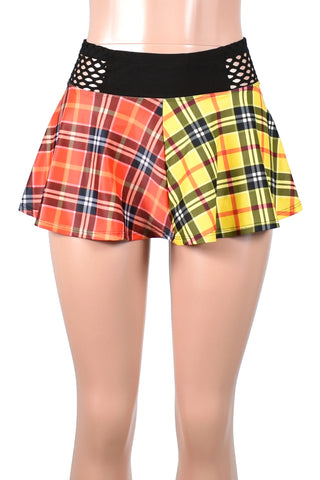 Red and Yellow Plaid Skirt with Fishnet Waistband (Two Length Options)