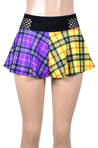 Yellow and Purple Plaid Skirt with Fishnet Waistband (Two Length Options)