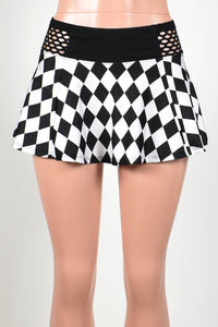 Black and White Diamond Print Skirt with Fishnet Waistband (Three Length Options)