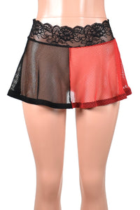 Black and Red Fishnet Harley Quinn Skirt (Two Length Options)