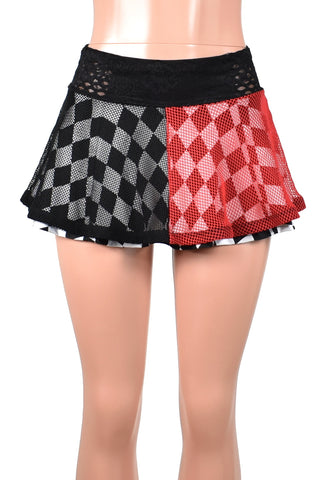 Two Skirt Deal: Red and Black Fishnet Skirt with Black and White Diamond Skirt