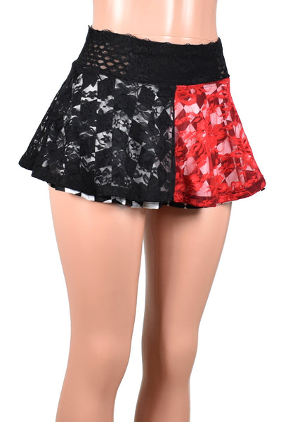 Two Skirt Deal: Red and Black Lace Skirt with Black and White Diamond Skirt
