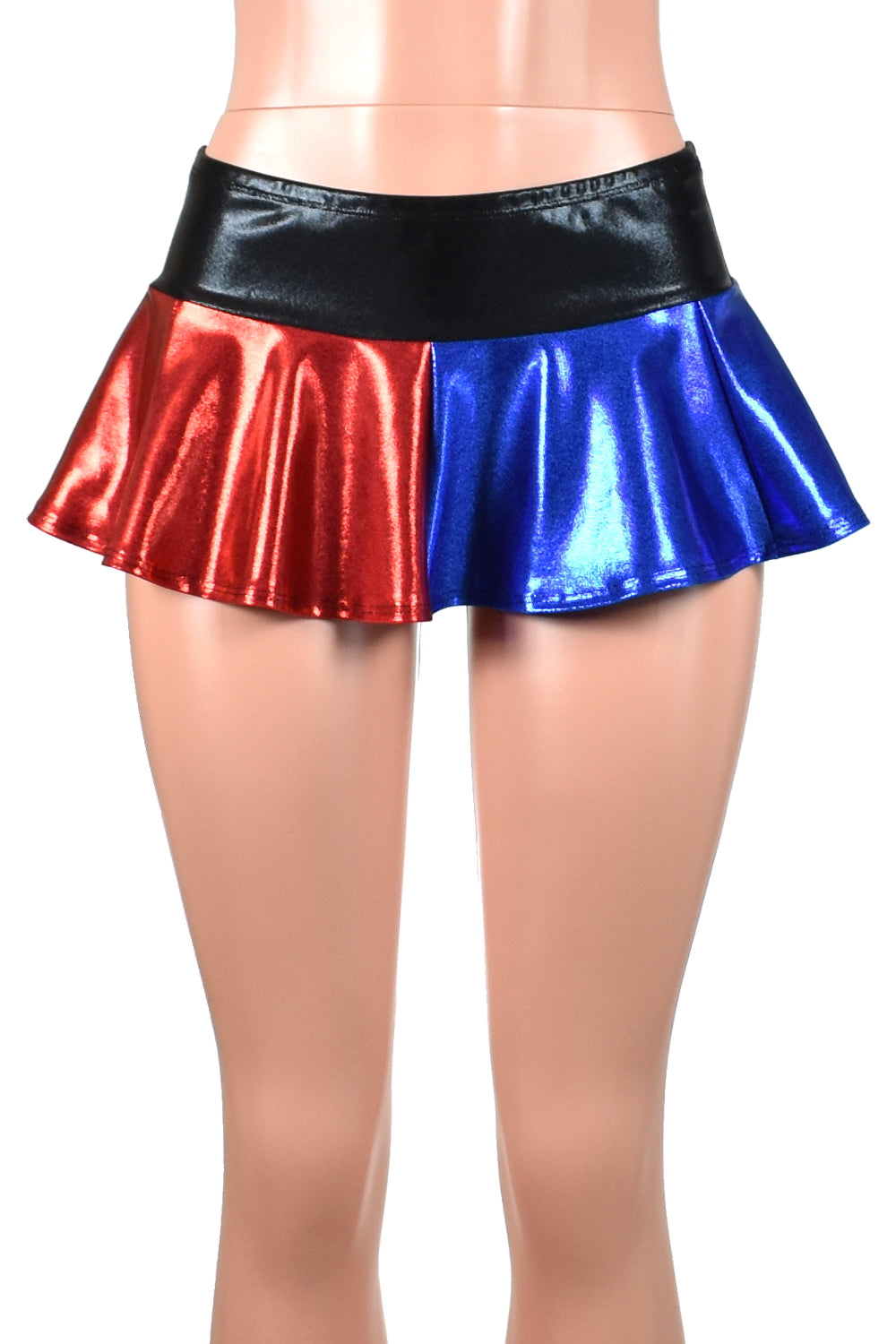 Shiny Blue and Red Micro Mini Skirt