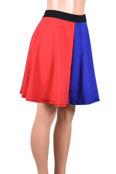 "Red and Blue Cotton Flared Skirt (20"" Length)"