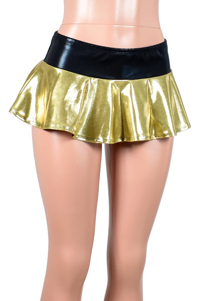 Shiny Gold and Black Micro Mini Skirt