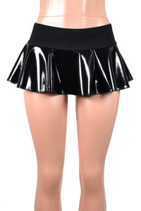Black Stretch Vinyl Micro Mini Skirt