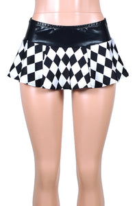 Diamond Print and Metallic Black Micro Mini Skirt