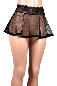 Black Polka Dot Mesh Skirt (Two Length Options)