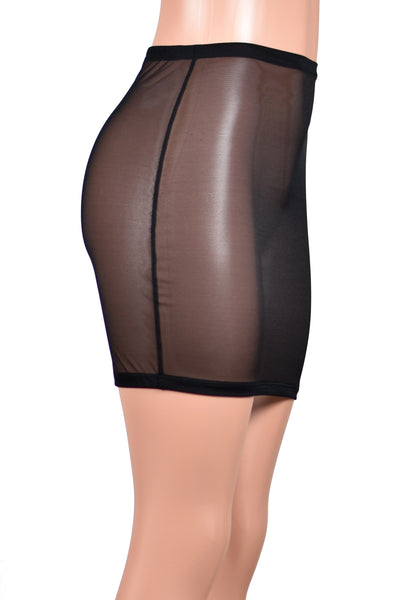 High-Waisted Black Mesh Mini Skirt