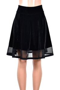 Black Velvet Flared Skirt with Mesh Hem