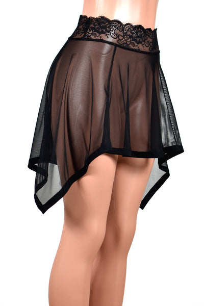 Black Mesh Handkerchief Hem Skirt