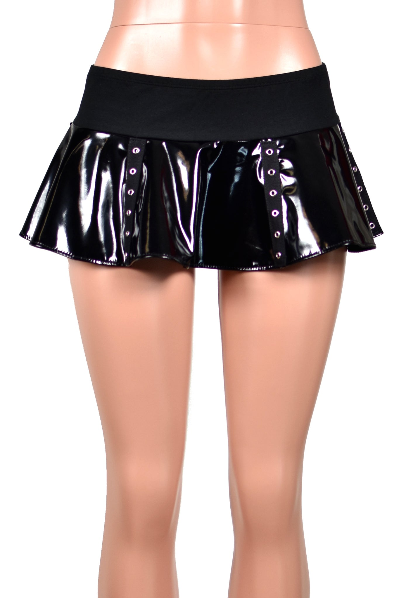 Black Vinyl Grommet Micro Mini Skirt