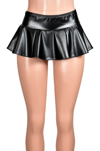 Black Faux Leather Micro Mini Skirt