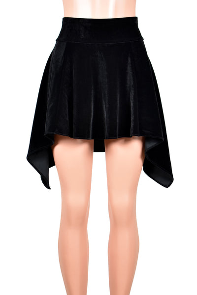 Black Velvet Handkerchief Hem Skirt