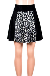 "Black Velvet and Giraffe Print Flared Skirt (18"" Length)"