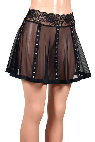 Black Mesh Grommet Skirt