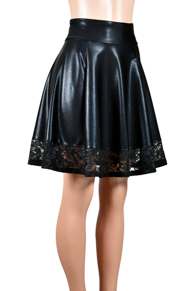 Black Metallic Flared Skirt with Lace Hem