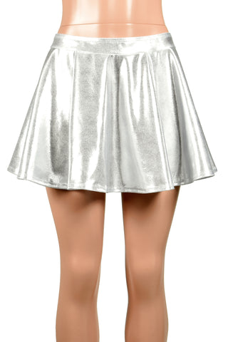 Metallic Silver Stretch Circle Skirt