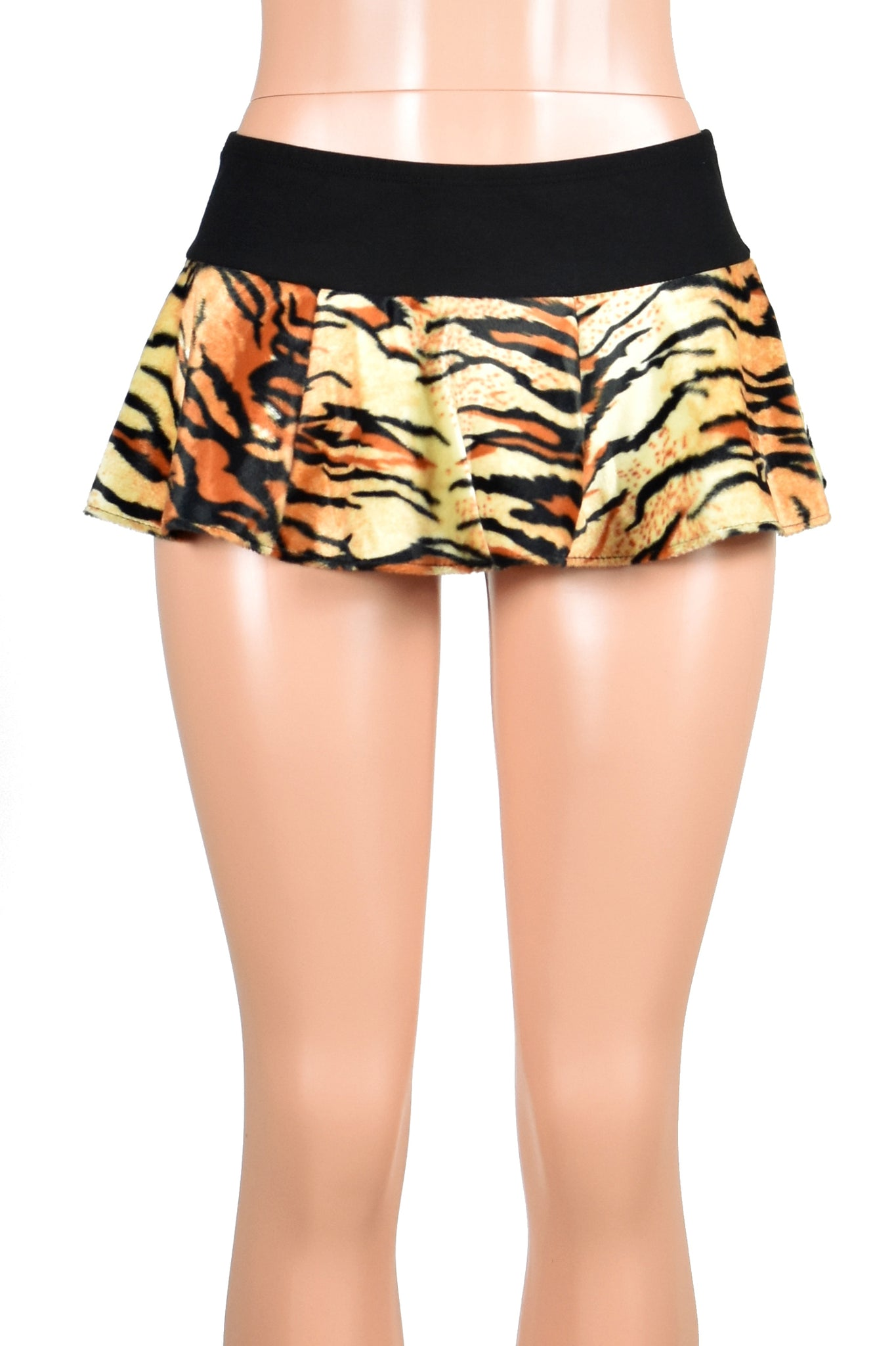 Orange Tiger Print Micro Mini Skirt
