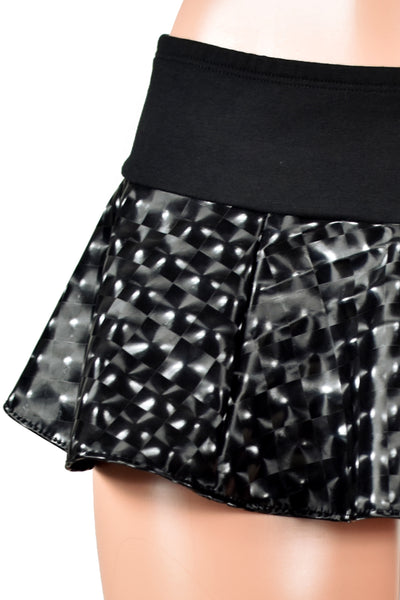 Black Galactic Vinyl Micro Mini Skirt