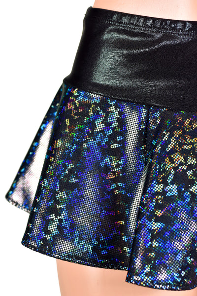 Black Rainbow Hologram Micro Mini Skirt