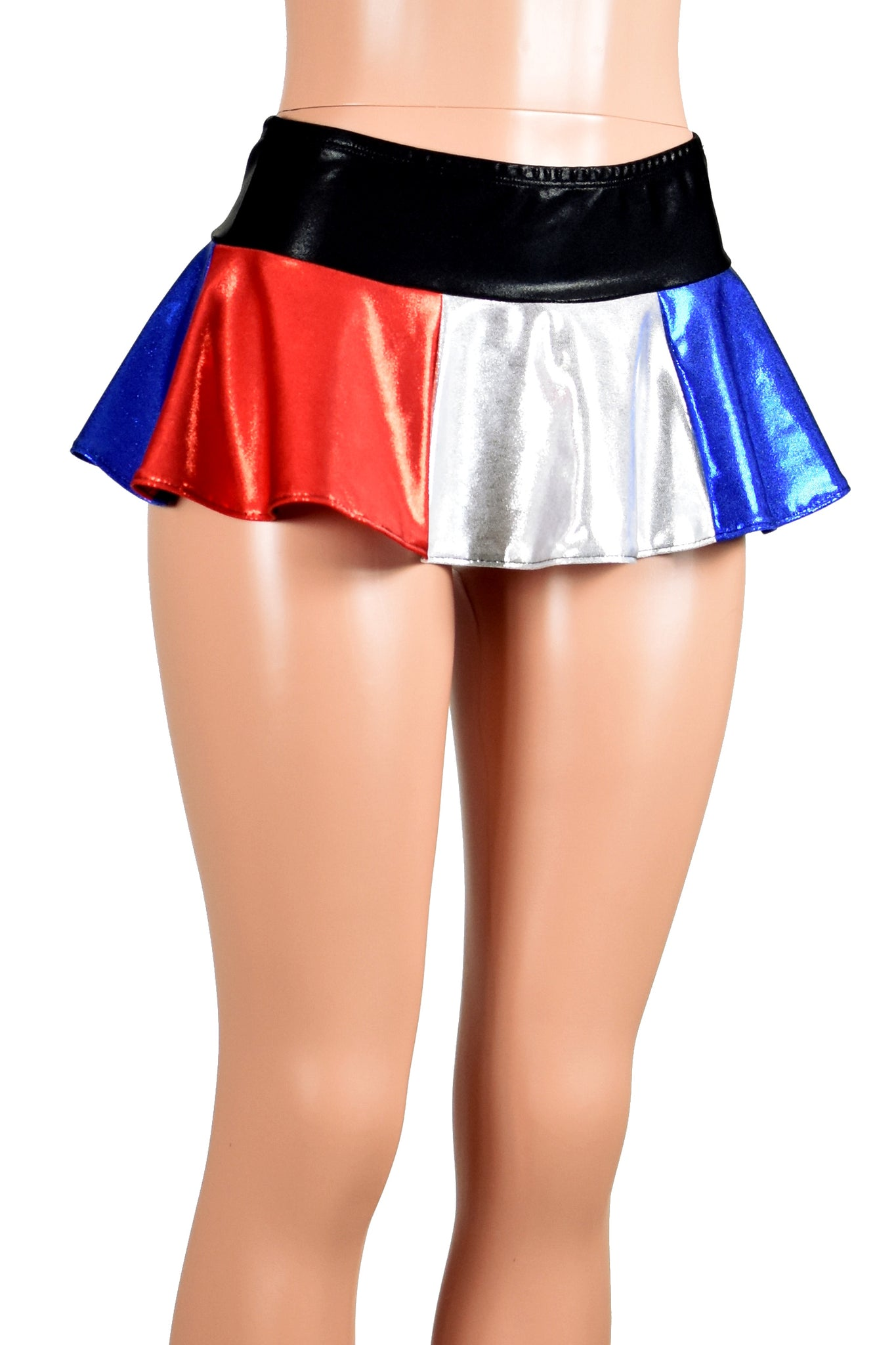 Red, Silver White, and Blue Metallic Micro Mini Skirt