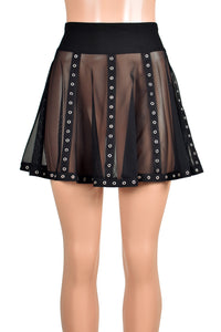 Black Mesh Vertical Grommet Skirt