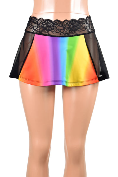 "Black Mesh and Rainbow Skirt (11"" Length)"