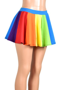Rainbow Circle Skirt (Teal Waistband)