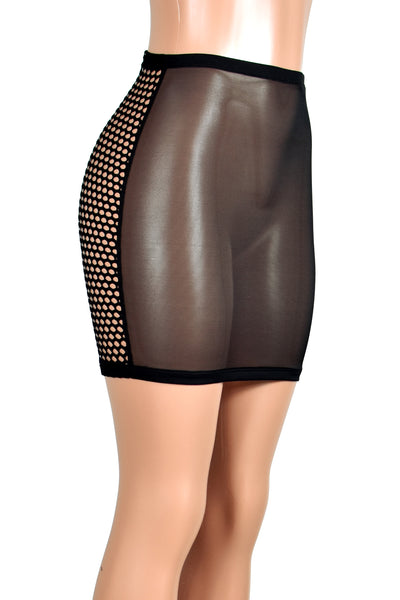 High-Waisted Black Mesh and Wide Net Fishnet Mini Skirt
