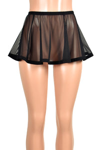 Flared Black Mesh and Elastic Skirt (Three Length Options)