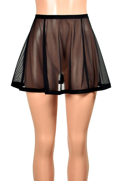 "Flared Black Mesh and Elastic Skirt (14"" Length)"