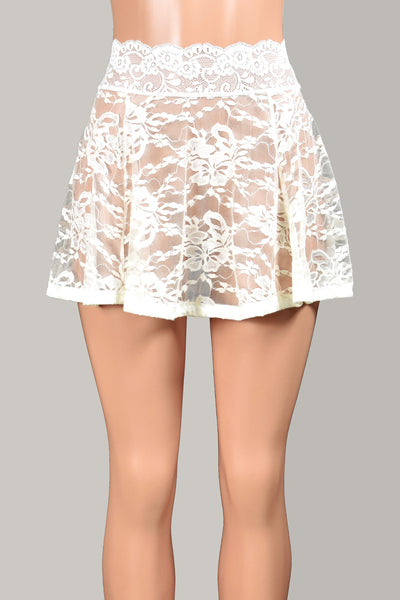 "Ivory / Off-White Lace Skirt (14"" Length)"