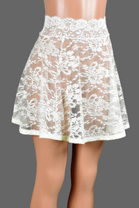 "Ivory / Off-White Lace Skirt (17"" Length)"