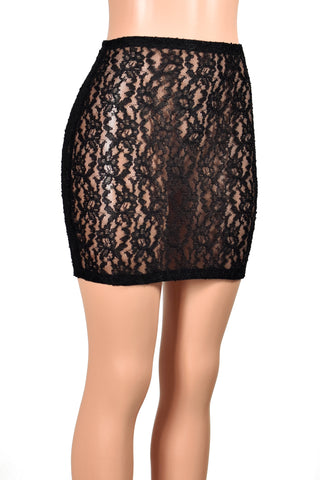 High-Waisted Black Textured Lace Mini Skirt