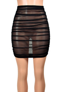 Ruched Black Mesh Mini Skirt