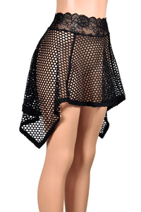 Black Wide Net Fishnet Handkerchief Hem Skirt